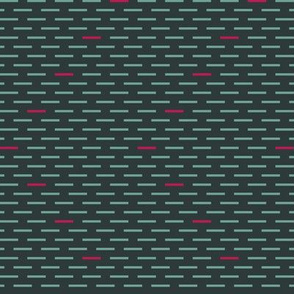 Dark Teal with Hot Pink Dashes