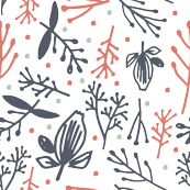 Red, Navy and Mint Floral Pattern