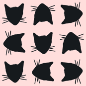 Cat Head Black and Pink Gift Wrap