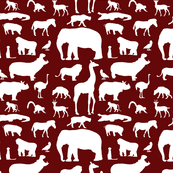 African Animals on Maroon