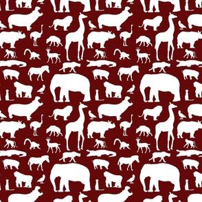 African Animals on Maroon