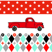 Retro Vintage Red Truck - Retro Design Kids Fabric