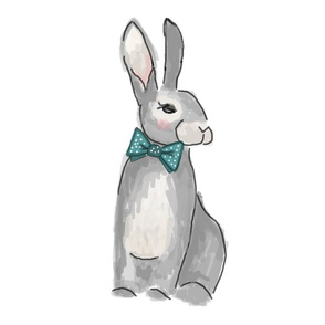 Dapper Rabbit with Bow tie Pillow Front