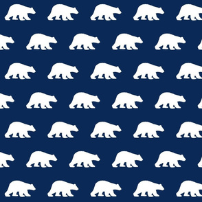 Polar bears on navy