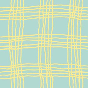 Spring plaid - large - light blue/yellow