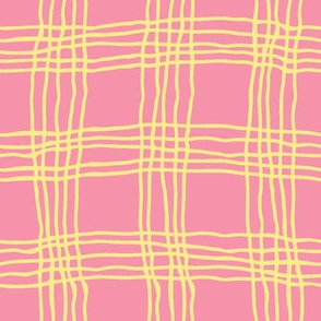 Spring plaid - large - pink/yellow
