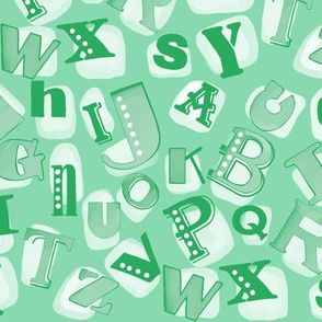 Alphabet in green