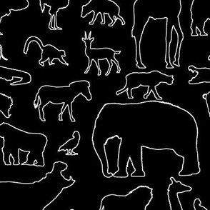 African Animals Outline on Black