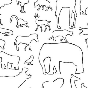 African Animals Outline
