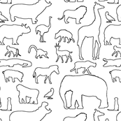 African Animals Outlined