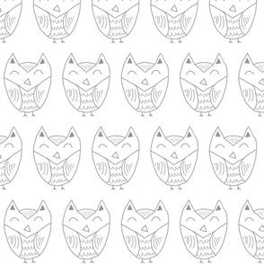Grey Owl - Hand drawn owl