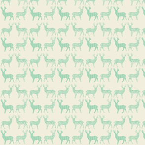 Mint Meadow Deer on Ivory