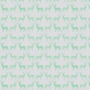Mint Meadow Deer on Light Gray