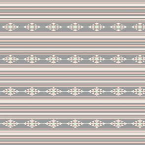 southwestern diamond stripes pastel gray