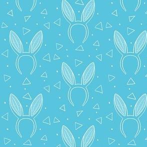 Bunny ears on blue