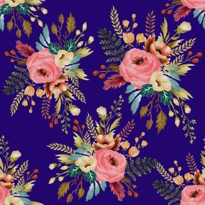Floral Bouquet Multi on Indigo