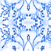 Indigo Blossoms Blue on White