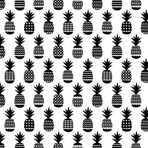 Fun black and white gender neutral ananas color pops geometric pineapple fruit summer beach theme illustration pattern