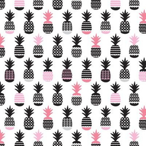 Fun black and white pastel pink ananas color pops geometric pineapple fruit summer beach theme illustration pattern