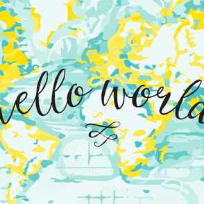 "Aqua + Yellow Hello World Lovey // 18"" x 27"""