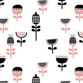 Scandinavian style retro large poppy flowers spring garden tulip black and white pastel pink