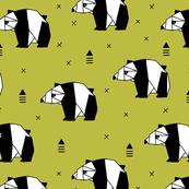 Origami animals cute panda geometric triangle and scandinavian style print black and white mustard yellow
