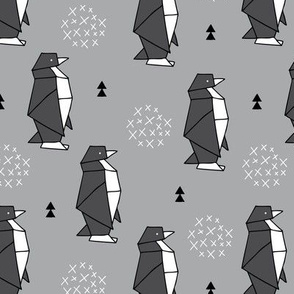 Origami animals cute ocean deep sea penguin geometric triangle and scandinavian style print black and white gray