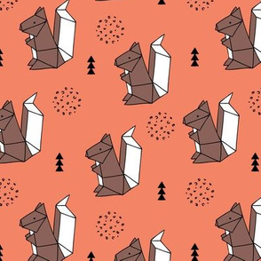 Origami woodland animals cute squirrel geometric triangle and scandinavian style print origami design coral orange