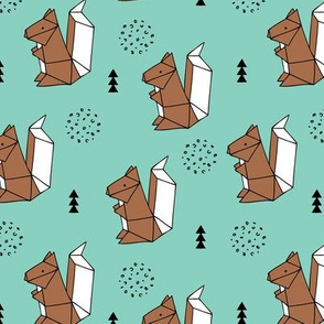 Origami woodland animals cute squirrel geometric triangle and scandinavian style print origami design mint blue brown