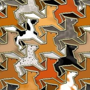 Tessellating Horse Herd Gold Outlined