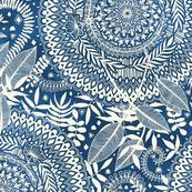 Diamond and Doodle Mandalas on Blue