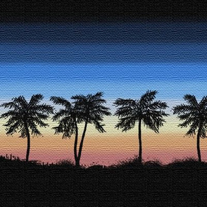 Ombre Sunset Palm Trees Wallpaper Lxcart Spoonflower