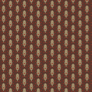 stars and hearts with ornaments brown background
