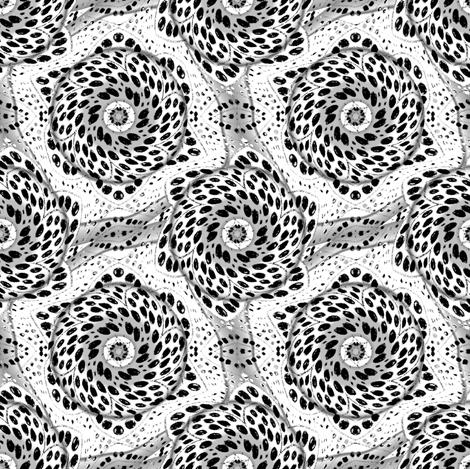 Black and White Dot Bloom Swirl
