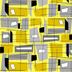 Mid-Century Modern Yellow Grey Rectangles