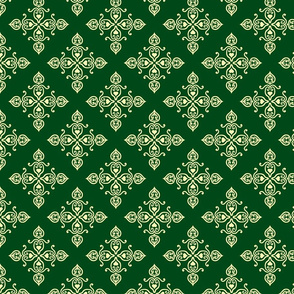 Ornament pattern with hearts tetragonal