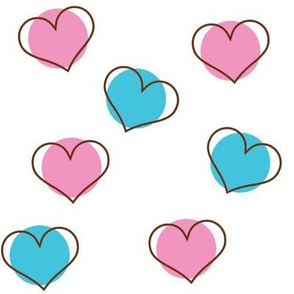 Pink and Blue Hearts