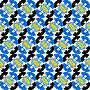 Mod Circles in Blue and Yellow