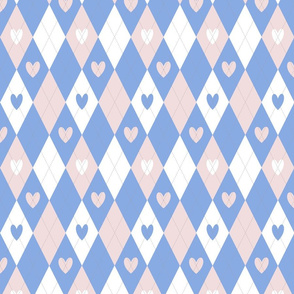 Argyle Hearts in Pink and Blue
