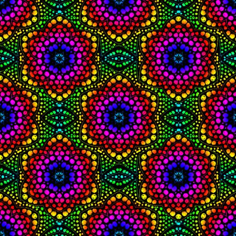Rainbow Dot Bloom on Black
