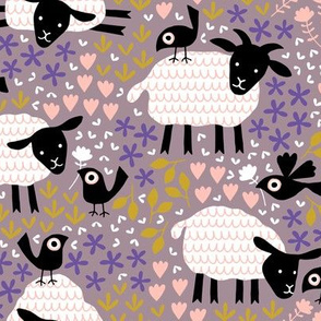 Birds and sheep in blossom