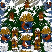 Doug and Petronella Victorian Snowman Fabric #2