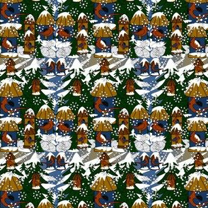 Doug and Petronella Victorian Snowman Winter Trees, Snowflakes, Birds & Birdhouses Fabric #2