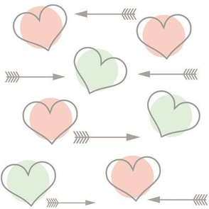 Mint and Pink Hearts N' Arrows