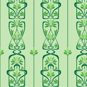 Art Nouveau Flowers and Leaves Green