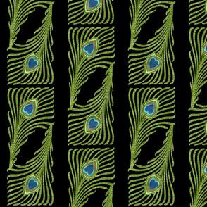Peacock Stripes Metallic Green Blue Gold