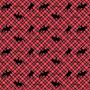 Dressage silhouettes red and black plaid