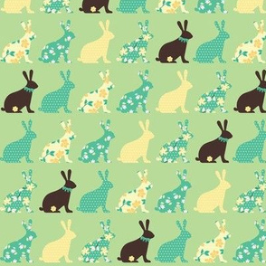 chocolate bunnies in mint