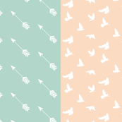 HALF YARDS, Arrow Seafoam & Doves Peach