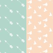 HALF YARDS, ArrowSeafoam Diagonal, Doves in Flight Peach